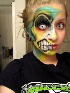 """ok. i know most see this and think """"zombie"""", buuuut I'm pretty sure it's dual personality makeup from neopets. AWESOME!!"""