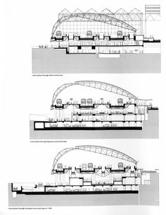 Section through Waterloo International Terminal, Nicholas Grimshaw and Associate. 09 Sus + Sys Sec London Architecture, Roof Architecture, School Architecture, Architecture Details, Truss Structure, Steel Structure Buildings, Hadid Architect, Airport Design, Architecture Concept Drawings