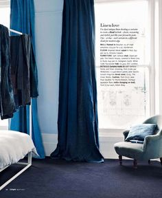 indigo hand-dyed linen curtains