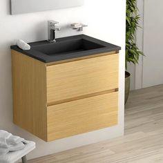 Cordoue, Meuble salle de bain chêne clair 61 cm, vasque pierre 2 finitions    #salledebain #meuble  #design #style #deco #bathroom #bath #bathroomdesign #bathroomideas #bois