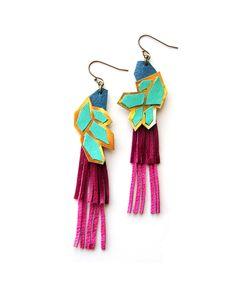 Color Block Neon Leather Earrings - JewelMint