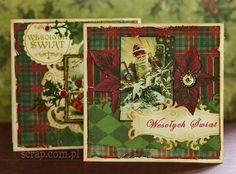 kartki świąteczne vintage na papierach kolekcji Świąteczny Domek