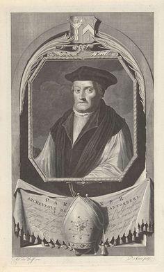 Pieter van Gunst | Portret van Matthew Parker, aartsbisschop van Canterbury, Pieter van Gunst, c. 1669 - 1731 | Matthew Parker, aartsbisschop van Canterbury tijdens de vroege regeringsperiode van Elizabeth I. Boven het portret zijn wapenschild. De prent heeft een Frans gedicht over zijn geloofsleven als onderschrift.