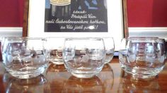 Vintage Etched Glass Roly Poly Glasses Set of Seven by cityfleas