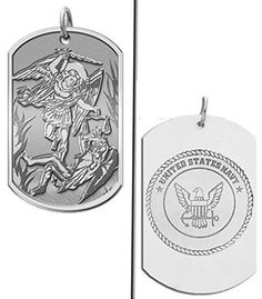 CHAIN IS NOT INCLUDED Available in Solid 14K Yellow or White Gold or in Sterling Silver Size Reference: 17mm is the size of a US dime 21mm is the size of a US nickel 24mm is the size of a US quarter Michael is the Archangel mentioned in the Book of Revelation 12:7. In the Old Testament Michael is mentioned by name in the Persian context of the Book of Daniel. He is generally presented as the field commander of the Army of God. There Michael appears as one of the chief princes (Daniel 10:13)…