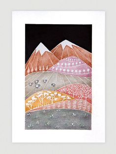Landscape, Print of watercolor painting, mountains illustration, kids wall art, whimsical by VApinx