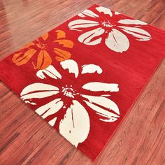 "#DiwaliDecor #FabFurnish Rug for the living room. Bright red color perfect for a bright festival from fabfurnish ""Ambadi Contemporary Rug Red & White"""