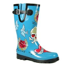 TATTOO PRINT Rain Boots by Chooka Boots. Women's rain boots with tattoo graphic print. There are hearts, skulls, blue swallows, and lucky horsehoes - available with either a black or turquoise blue background. These boots are made from natural Womens Gothic Boots, Blue Swallow, Skull Shoes, Rain Gear, Blue Fashion, Women's Fashion, Platform Boots, Shoe Box, Boots