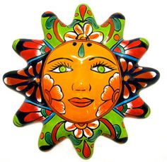 MEXICAN WALL HANGING TALAVERA POTTERY SUN FACE elementary art education mexico ceramics terracotta suns multi-cultural clay