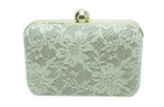 clutch box bolsa de festa com renda perola off white fecho dourado