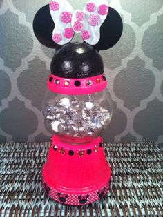 Hot Pink Minnie Mouse gumball clay pot candy dish by PeachyMonkey