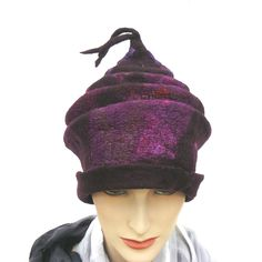 Felted Hat Wool Silk Cap Women Nuno felted  women's hat purple by MajorLaura on Etsy
