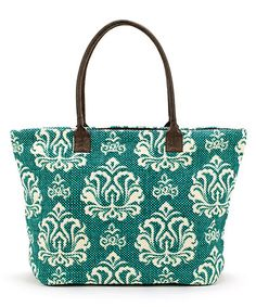 Love this Turquoise Damask Shopper by Christian Livingston on #zulily! #zulilyfinds