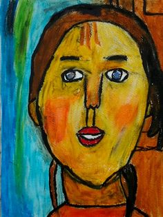 "Sold.  Cooper's version of Modigliani's ""Girl With Braids"". oil pastel and black gesso."