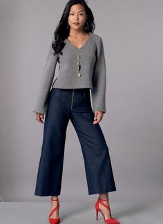 Melissa Watson for McCall's sewing pattern. M7445 Misses' V-Neck Top and Cropped, Wide-Leg Pant