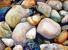 Ocean Beach Rocks by Mary Gibbs Art. can't believe this is watercolor - what amazing talent! Watercolor Landscape, Watercolour Painting, Painting & Drawing, Watercolours, Watercolor Techniques, Painting Techniques, Art Beauté, Beach Art, Ocean Beach