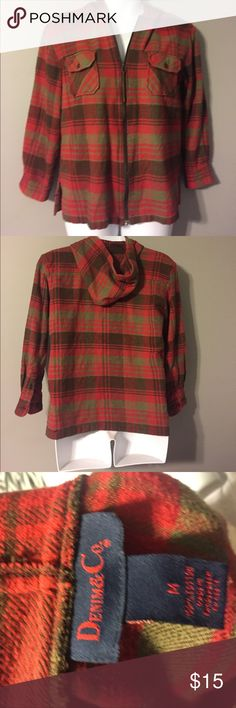 Jacket with Hood Flannel like material. Super warm and cozy! Denim & Co Jackets & Coats