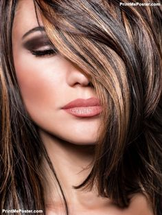 Closeup portrait of stylish gorgeous super model, beautiful makeup and glossy brown hair, luxury hai poster #poster, #printmeposter, #mousepad, #tshirt