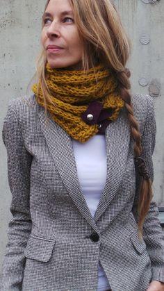 women's mustard yellow scarf cowl / yellow double wrap by ileaiye
