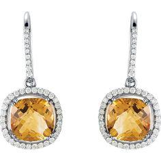 14kt White Citrine & 3/4 CTW Diamond Earrings