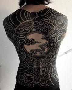 Moon back piece japanese tattoo