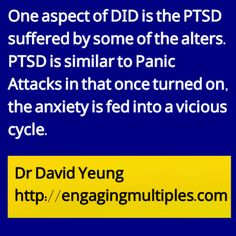Related blog http://traumadissociation.wordpress.com/2015/02/12/flashbacks-in-did/ Psychiatrist David Yeung recently released 2 books on Dissociative Identity Disorder (multiple personalities), check his website http://engagingmultiples.com