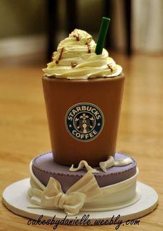 Starbucks cake, latte with foam Crazy Cakes, Fancy Cakes, Birthday Cake Pops, Just Cakes, Novelty Cakes, Love Cake, Coffee Cake, Coffee Theme, Creative Cakes