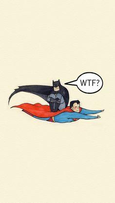 Superman giving Batman a lift #iPhone #wallpaper