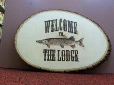Pine Wood Log Sign - Man Cave sign fish man cave