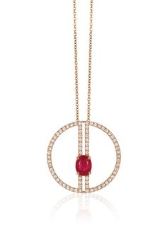 Effy Geo 14K Rose Gold Ruby and Diamond Negative Space Pendant, 1.89 TCW