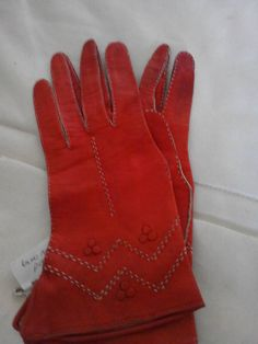 Amazing 1930s art Deco red leather gloves with by VintageGloveBox