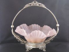 Antique Victorian Brides Basket With Fluted Bowl by Junkblossoms