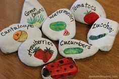 Painted-Garden-Marker-Rocks. know what you grow! Cute project with the kids at home or school garden