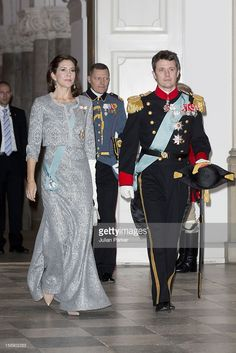 January 3, 2013--Crown Prince Frederik, and Crown Princess Mary of Denmark attend a New Year's Levee held by Queen Margrethe of Denmark, for Diplomats,at Christiansborg Palace on January 3, 2013 in Copenhagen, Denmark.
