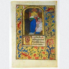 Original mittelalterliches Manuskriptblatt aus einem reich verzierten französischen Stundenbuch. Recto dekoriert ist das Pergamentblatt mit einer prächtigen und außergewöhnlichen Miniaturmalerei. Entstanden in Frankreich, vermutlich Rouen, um 1485.  ABMESSUNGEN: Blatt: ca. H 12,1 cm x B 8,3 cm