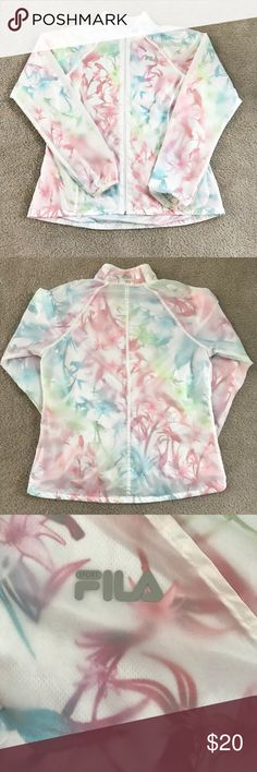 Unique Fila Jacket This jacket is so pretty and unique!! It has a clear frosted wind resistant layer over a beautiful multicolored tropical birds pattern! Washed and worn once! We have a pet free and non smoking home ❤ Fila Jackets & Coats