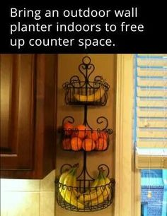 clever idea – use a garden wall planter to keep things off the counter; clever idea – use a garden wall planter to keep things off the… Kitchen Storage, Kitchen Decor, Diy Kitchen, Country Kitchen, Vintage Kitchen, Kitchen Counters, Countertops, Kitchen Sink, Americana Kitchen