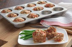 Weeknight Mini Meatloaves: An individual meatloaf recipe with Hunt's Tomatoes and Kraft Parmesan added to the meat and baked in muffin cups. Recipe Source: Kraft Foods, Inc. Kraft® is a registered trademark of Kraft Foods, Inc. Kraft Recipes, Kraft Foods, Cooking Recipes, Healthy Recipes, Easy Recipes, What's Cooking, Weeknight Recipes, Bariatric Recipes, Chef Recipes