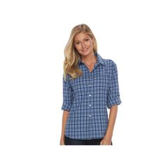 Women's Woolrich Tall Pine Plaid Seersucker Shirt, Size: Medium, Dark Blue