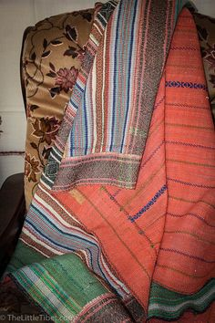 Vintage Kantha Quilt Hand stitched throw Hand by TheLittleTibet