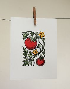 Items similar to Tomato block print with hand painted details original kitchen gardening art botanical home decor on recycled card stock on Etsy Art Block, Art Business Cards, Botanical Prints, Linocut, Hand Painted, Linocut Prints, Painting, Original Art, Prints