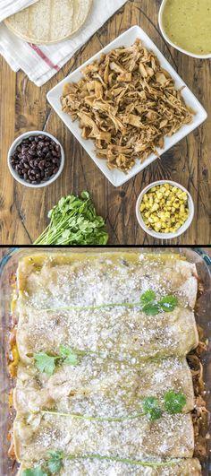 Vegan Enchiladas Verdes made with amazing pulled jackfruit and homemade green enchilada sauce!
