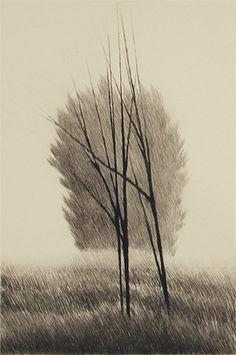Hillsids Four Trees, mezzotint by Robert Kipniss
