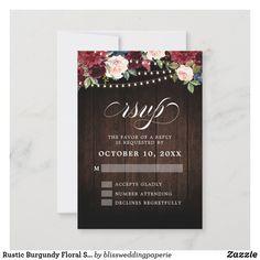 Wedding Rsvp, Response Cards, Favors, Burgundy, Rustic, Floral, Prints, Country Primitive, Presents