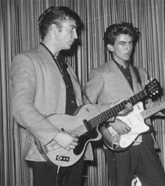Young Lennon and Harrison, John with his Hofner Club 40, in 1959.
