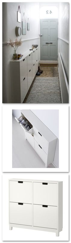IKEA - STÄLL, Shoe cabinet with 4 compartments, , Helps you organize your shoes and saves floor space at the same time.In the shoe cabinet your shoes get the Apartment Entryway, Apartment Living, Apartment Furniture, Shoe Storage Apartment, Apartment Ideas, Foyer Decorating, Narrow Hallway Decorating, Decorating Ideas, Narrow Bedroom Ideas