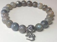 "OM Bracelet -'""ॐ"" Meditation Bracelet- Labradorite Beaded Bracelet -Sterling Silver Om Bracelet- Yoga Wrist Mala - Spiritual - Energy"