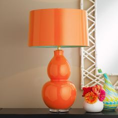 Pop Color Modern Ceramic Table Lamp Orange Melon with Turquoise Lining $449