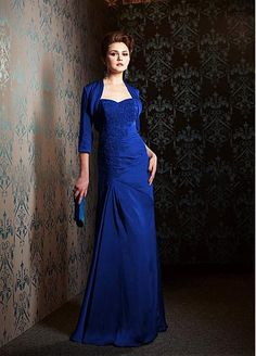 Brilliant Taffeta Sweetheart Neckline Floor Length Mother of the Bride Dresses With Lace Appliques