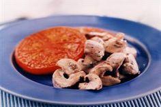 Minty Mushrooms on Tomato Slices